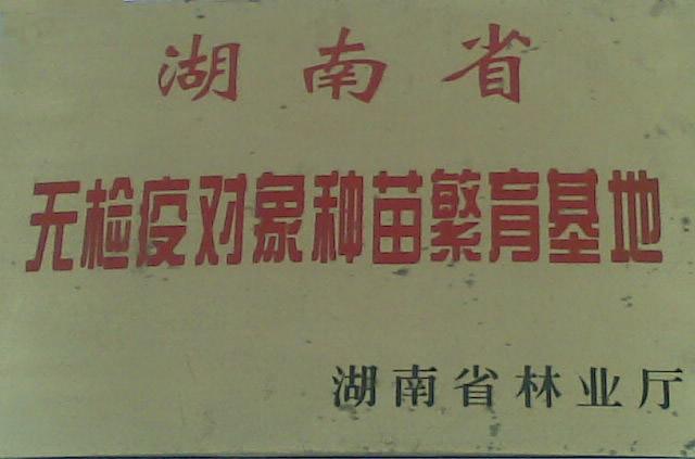 湖南省免检疫苗木